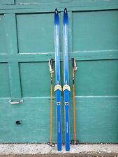 """Vintage Wooden 71"""" Long BLUE Skis with Bindings CERF and Bamboo  Poles"""
