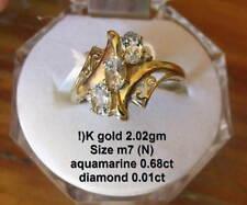 10K GOLD ring/AQUAMARINE/DIAMOND