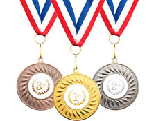 1st 2nd & 3rd Place Medals Sports Achievement Awards Set of 3 Medals + Ribbons