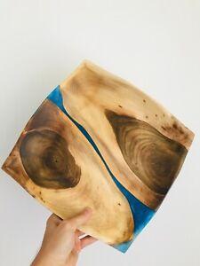 Modern wooden tray, plate handmade, epoxy resin, live edge style