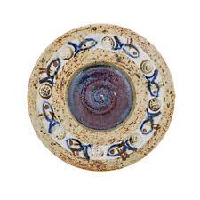 Decorative Plate - Handmade Ceramic Glazed Table top Decor - Beige & Blue