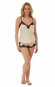 Everly new  Sexy Satin & Lace Cami and Shorts Set  Pyjamas Nightwear Size 6 - 12