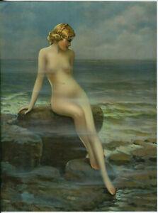 Vintage Art Deco Nude Sea Nymph Pin-Up Print by Joseph Tomanek 1930s