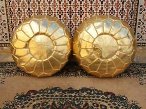 MOROCCAN POUF Leather Ottoman Big Promo of 2 Pouffe