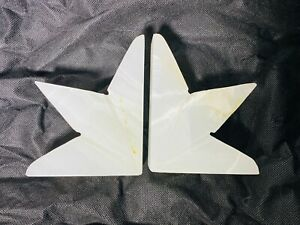 WHITE POLISHED MARBLE BOOKENDS HALF STARS