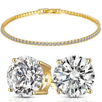Mens Womens 2 Row Simulated Tennis Bracelet 14k Gold Plated 8 inch