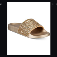 INC International Concepts Glitter Slides Gold NEW