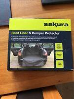 Sakura Heavy Duty Water Resistant Car Boot Liner Mat & Bumper Protector - Black