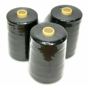 3 pcs All Purpose Polyester Sewing Thread, 12,000 yards Each, Tex 27, Black