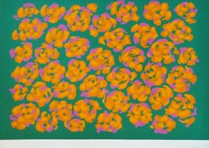 Nadine Prado Orange Flowers on Green 1979 Serigraph HAND SIGNED Mexican/French