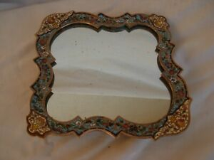ANTIQUE FRENCH ENAMELED BRONZE,CLOISONNE,TRAY WITH MIRROR,LATE 19th CENTURY