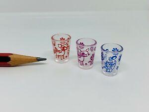 U037b Dollhouse 3pc of Reinedeer Glass Cup 夢見食器 Miniature kitchen re-ment 1:12