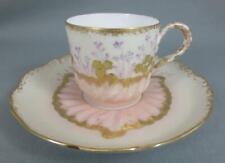 c1900 A. KLINGENBERG Limoges DEMITASSE CUP & SAUCER Hand Painted Pink & Gold