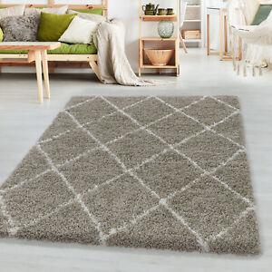 Hochflor Design Teppich Wohnzimmerteppich Muster Raute Flor Weich Farbe Beige