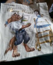 Disney Belle Beauty And the Beast Beast Book Ladder Blue Dress Tote Canvas Bag
