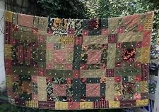 Velvet Patchwork Quilt Hand Tied Vintage Throw 72 x 73 Boho Style