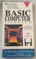 Vtg Basic Computer Literacy DOS Windows IBM Compatible Diskette VHS Tape PBS NOS