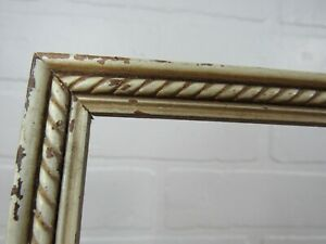 """Antique 9.75X7.75"""" 20s 30s Picture Frame Art Deco CHIPPY WHITE STYLE HOLDS 9X7"""""""