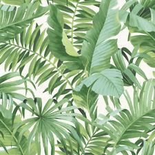 Tropical Leaf Wallpaper Palm Tree White Green a Street Prints Paste 53cm X 10m