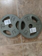 """2x 5 lb Pound Standard Grip Gym Barbell Weights Plates cap 1"""" 10lbs Total NEW"""
