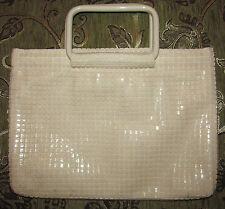 vintage LUMURED ivory lucite beads sequined pull apart lucite handles handbag