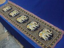 Vintage India Hand Beaded Sequins Elephant Wall Tapestry Beads Black Velvet