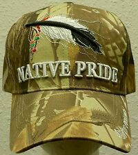 DELUXE CAMO LEAF INDIAN AMERICAN NATIVE PRIDE BALD EAGLE FEATHERS TRIBE CAP HAT