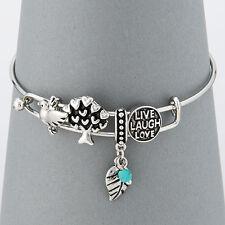 Silver Tree Bird Leaf Live Laugh Love Message Charms Bangle Bracelet