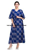 New Ladies Abstract Print Maxi Dress Indian Hippie Kaftan Nighty Lounger Gown