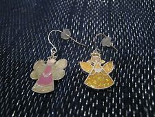 design earrings with silver tone metal Fabulous angel fairy pink & yellow