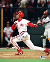 BARRY LARKIN SIGNED AUTOGRAPHED 8x10 PHOTO CINCINNATI REDS LEGEND BECKETT BAS
