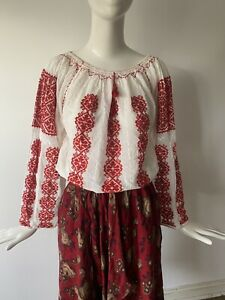 Vtg 1970s Soft Cotton Red Ivory Hand stitched Hungarian Peasant Blouse M 10 38