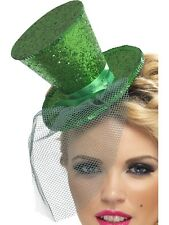 Ladies Mini Top Hat Glitter on Alice Band Green by Smiffys