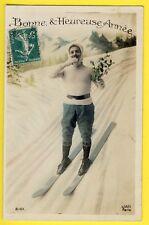 cpa SPORT D'HIVER SKI NEIGE MONTAGNE Bonne et Heureuse Année 1910 Snow Mountain