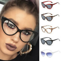 Fashion Women Cat Eye Sunglasses Retro Classic Leopard Frame Clear Lens Glasses