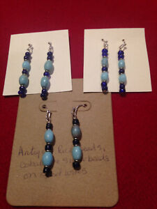 Pair Antique Light Blue Rice Bead and Cobalt Trade Bead Earrings