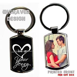 Personalised Valentines Day Metal Keyring Photo Printed/Engraved Keepsakes Gift