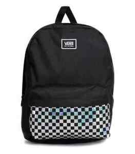 NWT Vans CLASSIC SILVER CHECK REALM BACKPACK Travel Gym School Bag BLACK  Unisex