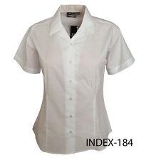 Girls Ladies Revere Collar Short Sleeve Fitted Blouse School Uniform Office 8-18