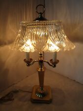 """Brass Bouillotte Table Desk Lamp 2 Candle Sticks lights Oval Crystal Shade 21"""" T"""