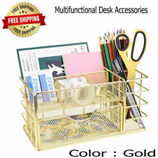 Multifunctional Mesh Desk Organizer Gold Makeup with Drawer for Home Office