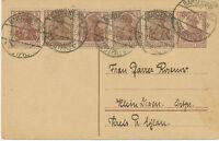 """DT.REICH """"BARTENSTEIN"""" 1921 Germania 15 Pf Kab.-GA-Postkarte + 5 Pf braun (5 x)"""