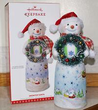 2017 Hallmark Snowtop Lodge Santa w/wreath Tabletop Decoration and Tea Light!