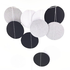 Black and Gold Glitter Circle Polka Dots Paper Garland Banner Party Decor 10 FT