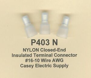 50 NYLON Insulated Closed End Terminal Connectors #16-10 Wire Gauge AWG USA