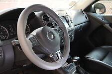 GREY PVC Leather Steering Wheel Stitch Wrap Cover w/ Needle Thread DIY Fiat Ram
