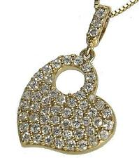 SOLID 14K YELLOW GOLD SPARKLY BLING BLING CLEAR CZ HEART PENDANT 13MM