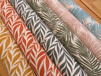 Natural Linen Look Palm Leaf Tropical 100% Cotton Fabric Curtain Craft