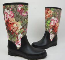 Gucci Floral Pink Prato GG Blooms Flora Rubber Wellie Women's Rain Boots Size 35