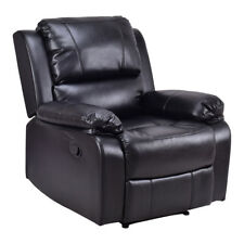 Manual Recliner Sofa Lounge Chair PU Leather Home Theater Padded Reclining Black